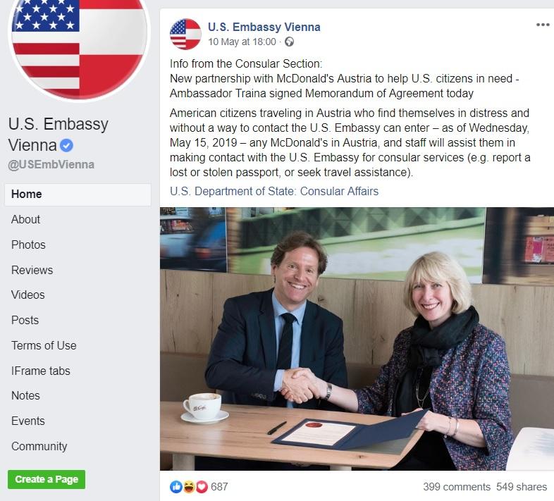 American Embassy Vienna Facebook