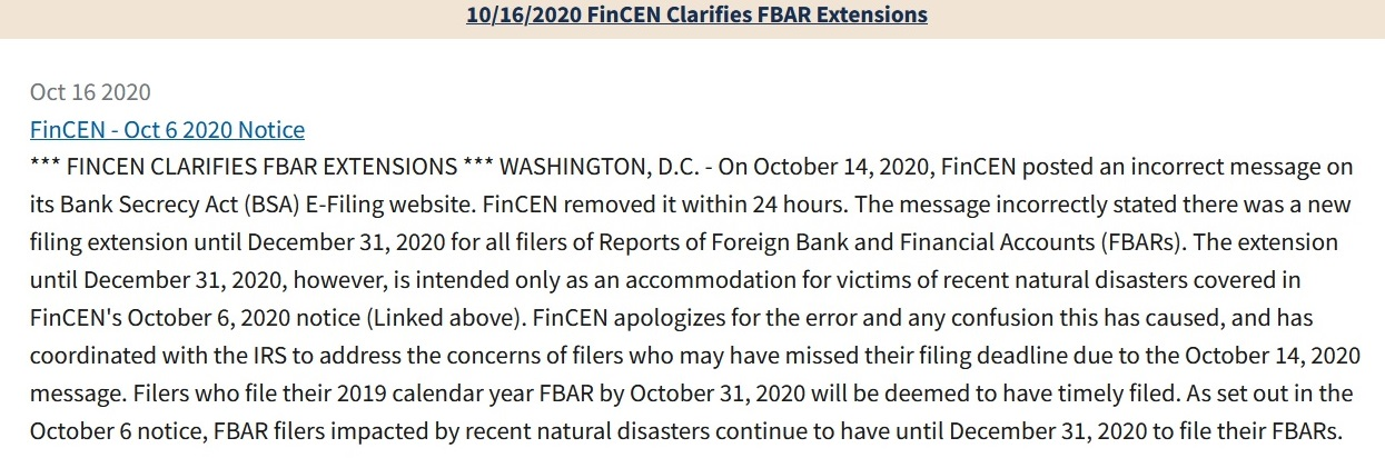 FinCEN Clarifies FBAR Extensions Oct 16 2020 cropped