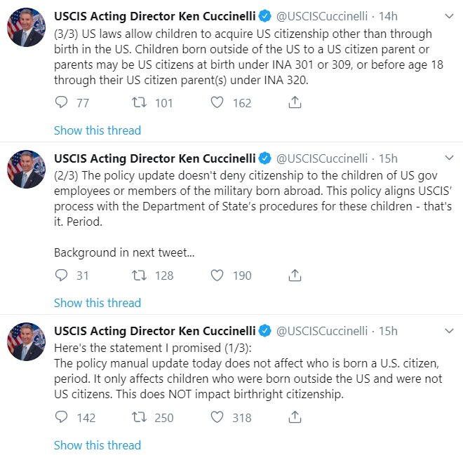 Ken Cuccinelli tweet 28 Aug 2019