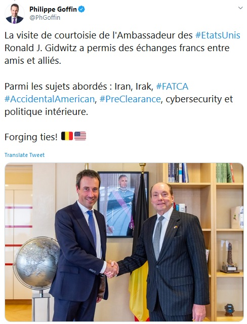 Philippe Goffin tweet in French