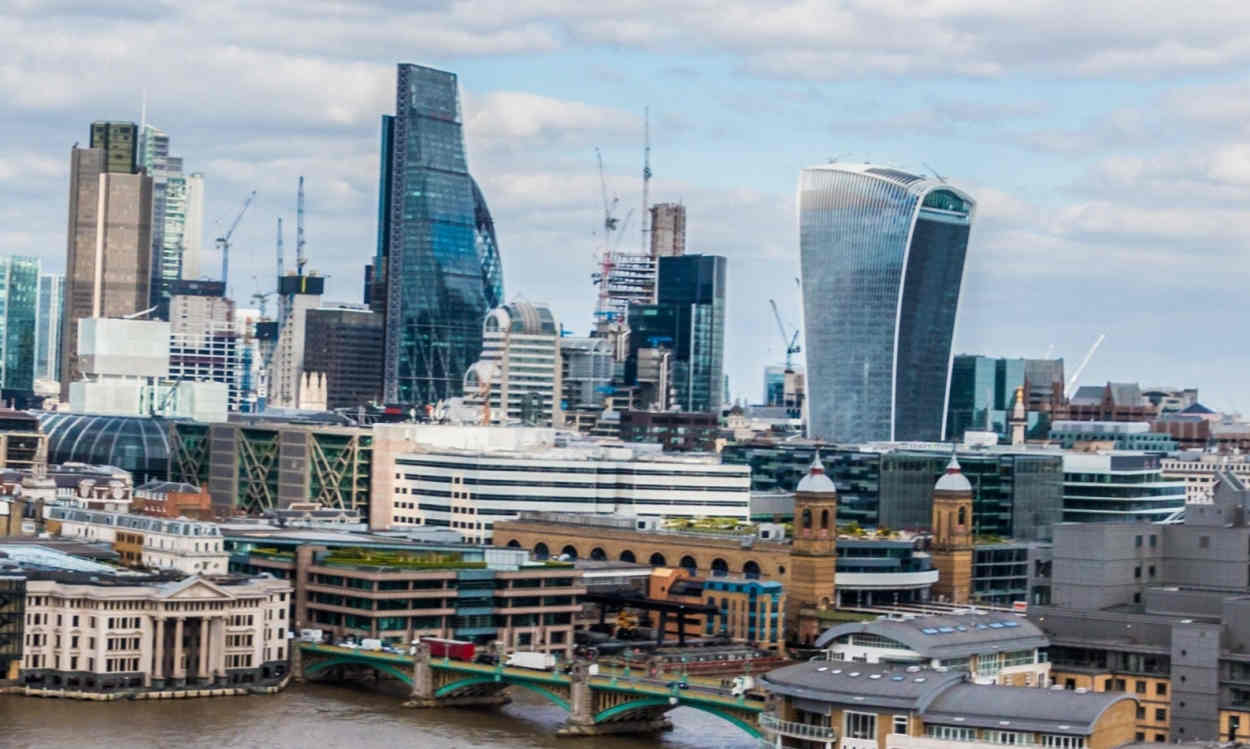 "City of London, with the ""Walkie-Talkie"" building, where LeifBridge is headquartered"