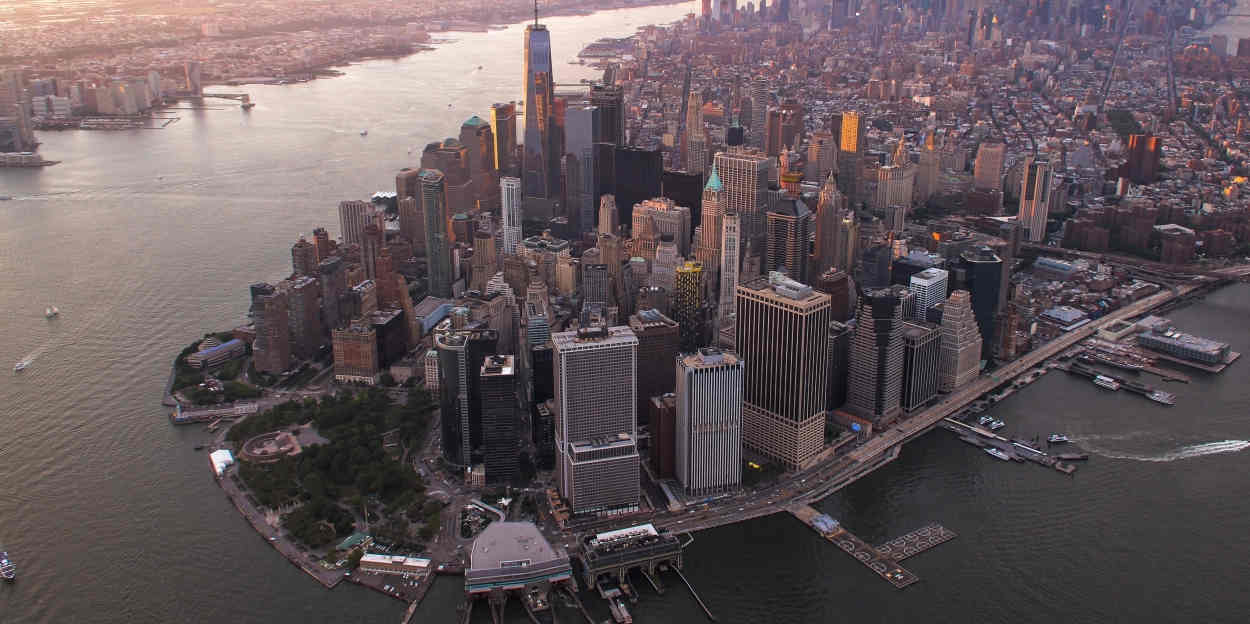 The financial district of lower Manhattan